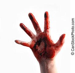 rood, bloedig, schrikaanjagend, hand, reiken, op wit