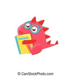 rood boek, lezende , illustratie, draak