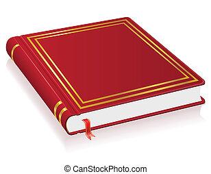 rood boek, met, bladwijzer, vector, illustratie