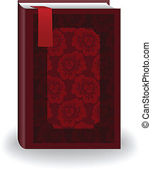 rood boek, met, een, bladwijzer