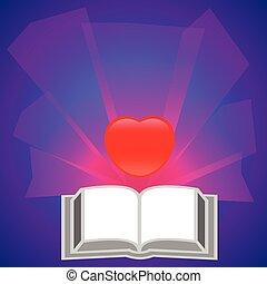 rood boek, vector, hart