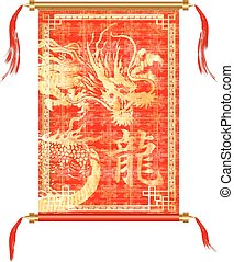 rood, boekrol, chinese draak