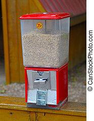 rood, boon, automaat, voor, hand, het voeden, kinderboerderij, dieren