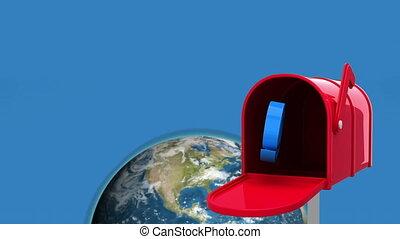 rood, brievenbus, aarde