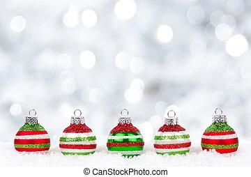 rood, brink en wit, kerstballen, met, flikkerend, achtergrond