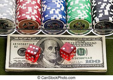 rood, casino, dobbelsteen, op, ons dollars