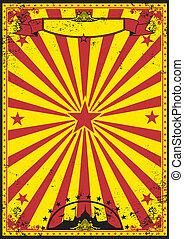 rood, circus, gele, retro