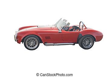 rood, classieke, roadster