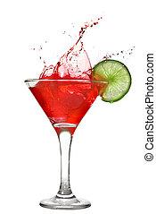 rood, cocktail, met, gespetter, en, kalk, vrijstaand, op wit