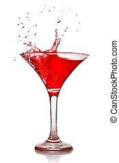 rood, cocktail, met, gespetter, vrijstaand, op wit