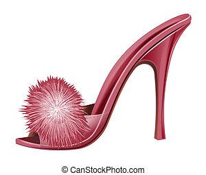 rood, dame, schoen, -, vrijstaand