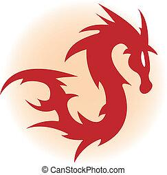 rood, draak