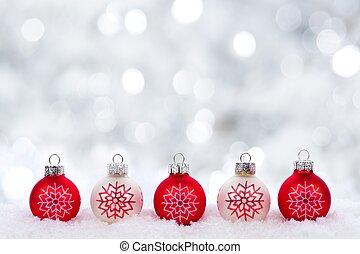 rood en wit, kerstballen, met, flikkerend, achtergrond