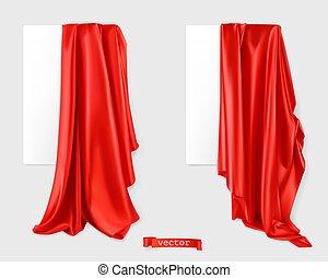 rood, fabric., image., 3d, gordijn, vector, realistisch,...