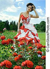 rood, fantasie, en, rozen