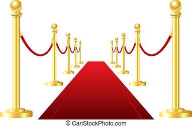 rood, gebeurtenis, tapijt, vrijstaand, op, een, witte...