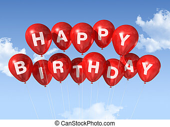 rood, gelukkige verjaardag, ballons, in, de, hemel