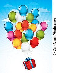 rood, giftdoos, en, kleurrijke ballons