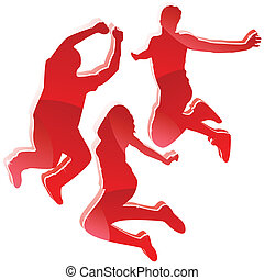rood, glanzend, silhouettes, 3, vrienden, jumping.