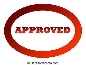 rood, goedgekeurd, postzegel, vrijstaand, op wit, achtergrond.