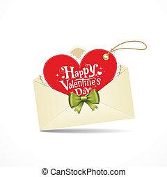 rood hart, enveloppe