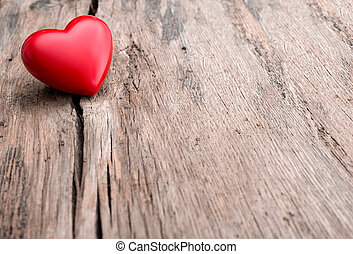 rood hart, in, barst, van, houten plank