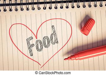 rood hart, met, de, woord, voedingsmiddelen