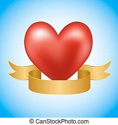 rood hart, met, gouden, lint, op, blauwe , achtergrond., vector