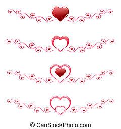 rood, hartjes, met, versiering, set