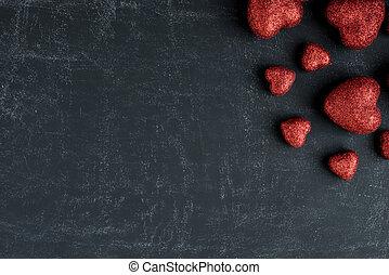rood, hartjes, op, een, chalkboard, voor, valentines dag