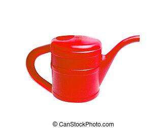 rood, het plastic water geven kan, vrijstaand, op wit