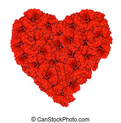 rood, hibiscus, valentijn, liefdehart, vrijstaand, met, knippend pad