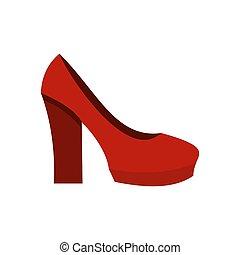 rood, hoge hiel schoenen, pictogram, plat, stijl