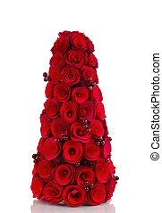 rood, houten, kerstboom, en, besjes, op wit, achtergrond