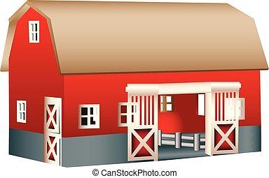 rood, houten speelgoed, schuur