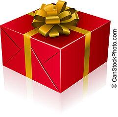 rood, kado, doosje, met, gouden, lint, en, bow.