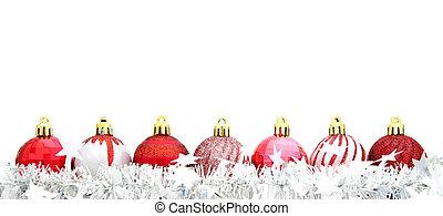 rood, kerst baubles, met, guirlande