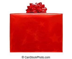 rood, kerstkado, doosje, vrijstaand