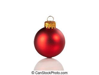 rood, kerstmis bal, ornament, vrijstaand, op, een, witte achtergrond