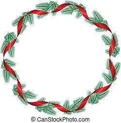 rood, kerstmis, lint, krans