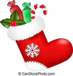 rood, kerstmis stelt voor, sok