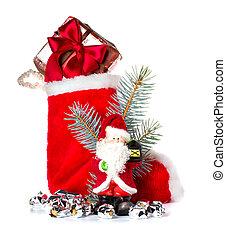 rood, kerstmis stocking, en, santa claus, sinterklaas, vakantie, ornament