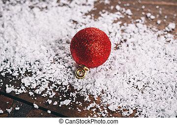 rood, kerstversiering, met, sneeuw