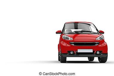 rood, kleine auto, vooraanzicht
