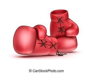 rood, leder, boxing handschoenen, vrijstaand, op wit