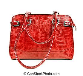 rood, leder, dames, handtas