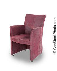 rood, leder, eetkamer, stoel