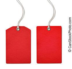 rood, leeg, papier, prijs, of, verkoopmarkering, set,...
