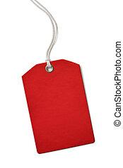 rood, leeg, papier, prijs, of, verkoopmarkering, vrijstaand