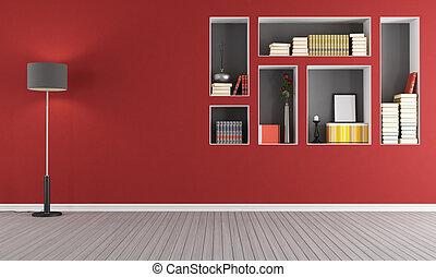 rood, lege, woonkamer, met, boekenkast